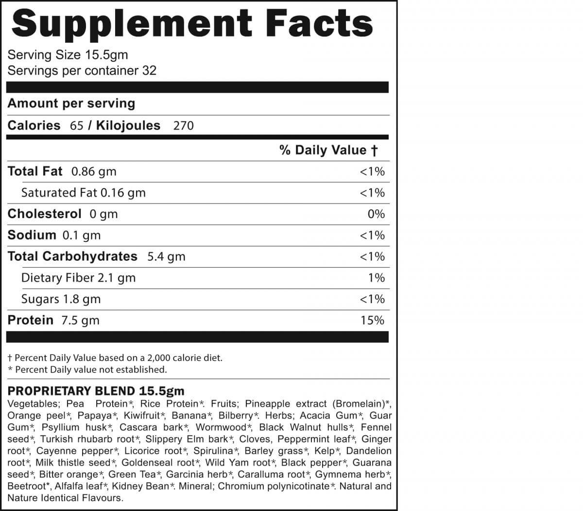 Supplement facts for BodiTune Detox n Slim protein drink