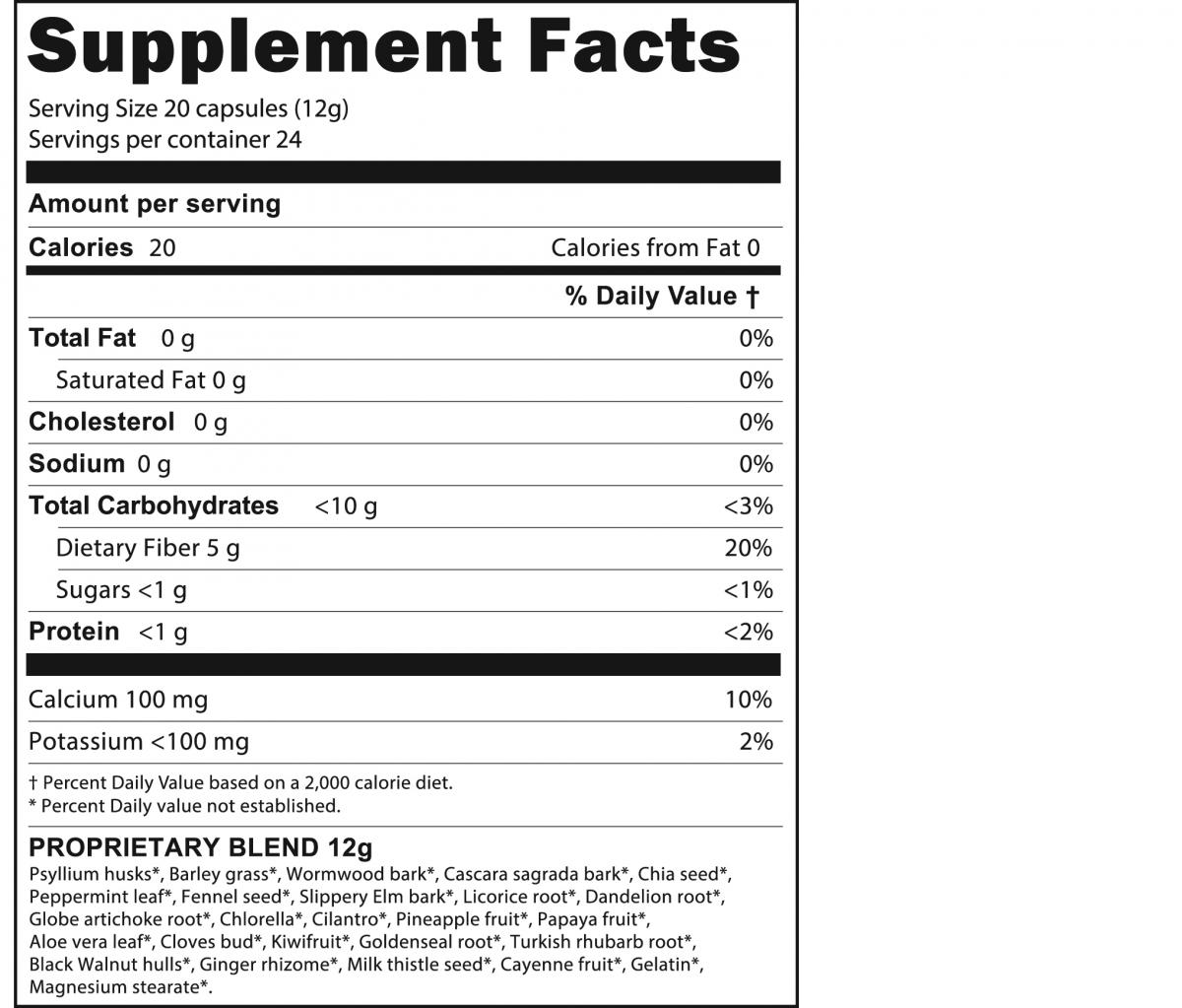 Supplement facts for the Ultimate Herbal Detox program