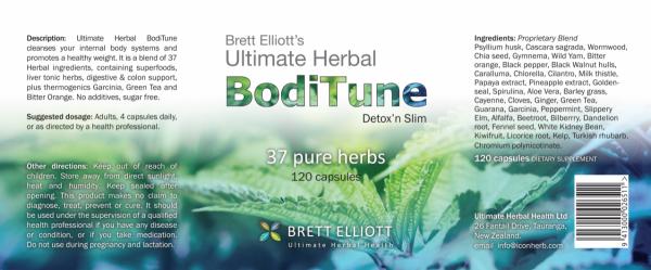 BodiTune Detox 'n Slim 120 capsules bottle label