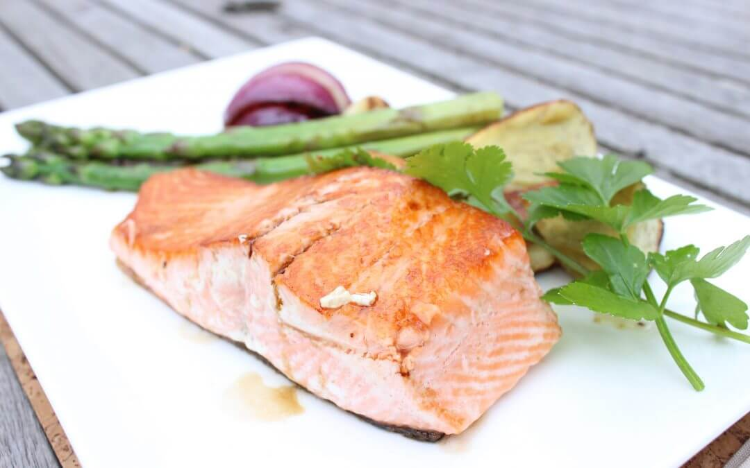 Salmon & Asparagus with Caper Sauce