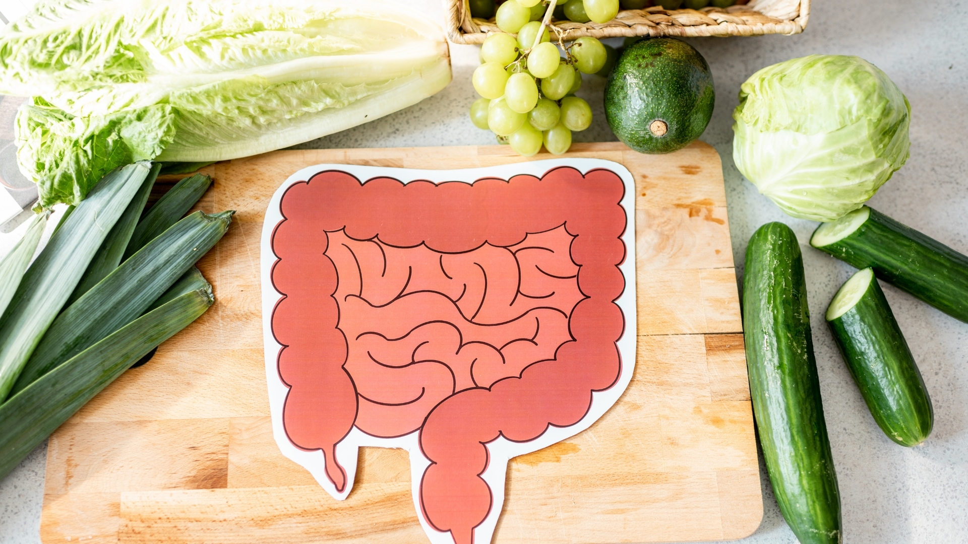 A cutout drawing of an intestine surrounded by vegetables